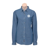 Ladies Denim Long Sleeve Shirt-UMM Ships Wheel