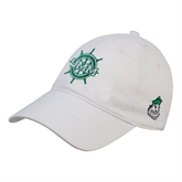White Twill Unstructured Low Profile Hat-UMM Ships Wheel
