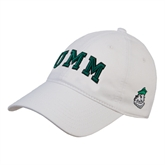 White Twill Unstructured Low Profile Hat-Arched UMM
