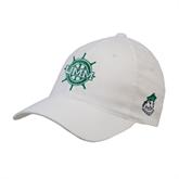 White Flexfit Structured Low Profile Hat-UMM Ships Wheel