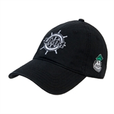 Black Twill Unstructured Low Profile Hat-UMM Ships Wheel