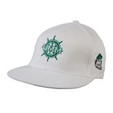White OttoFlex Flat Bill Pro Style Hat-UMM Ships Wheel