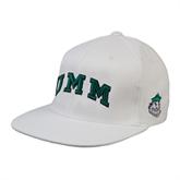 White OttoFlex Flat Bill Pro Style Hat-Arched UMM