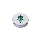 White Round Peppermint Clicker Tin-UMM Ships Wheel