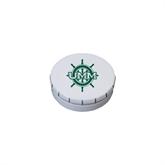 White Round Peppermint Clicker Tin-UMM Ships Wheel