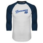 White/Navy Raglan Baseball T Shirt-Fancy Script