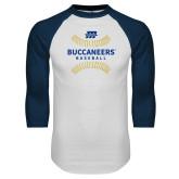White/Navy Raglan Baseball T Shirt-Baseball Seams