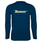 Performance Navy Longsleeve Shirt-Wordmark