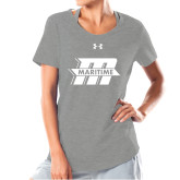 Ladies Under Armour Grey Charged Cotton Tee-Primary Mark