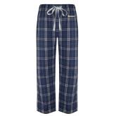 Navy/White Flannel Pajama Pant-Wordmark