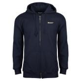 Navy Fleece Full Zip Hoodie-Wordmark