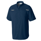 Columbia Tamiami Performance Navy Short Sleeve Shirt-Wordmark