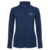 Ladies Fleece Full Zip Navy Jacket-Wordmark
