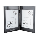 Black Nickel Double Photo Frame-Wordmark Engraved