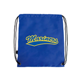 Royal Drawstring Backpack-Mariners Script