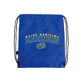 Royal Drawstring Backpack-Arched Maine Maritime Mariners w/ Anchor