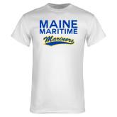 White T Shirt-Maine Maritime Mariners w/ Mariners Script