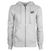 ENZA Ladies White Fleece Full Zip Hoodie-Anchor