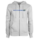ENZA Ladies White Fleece Full Zip Hoodie-Maine Maritime w/ Anchor