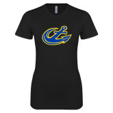 Next Level Ladies SoftStyle Junior Fitted Black Tee-Anchor
