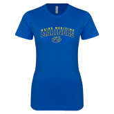 Next Level Ladies SoftStyle Junior Fitted Royal Tee-Arched Maine Maritime Mariners w/ Anchor