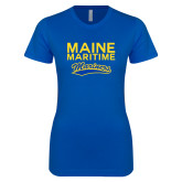 Next Level Ladies SoftStyle Junior Fitted Royal Tee-Maine Maritime Mariners w/ Mariners Script