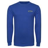 Royal Long Sleeve T Shirt-Mariners Script