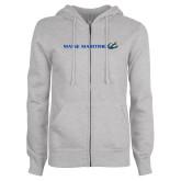 ENZA Ladies Grey Fleece Full Zip Hoodie-Maine Maritime w/ Anchor