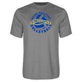 Performance Grey Concrete Tee-Volleyball Design