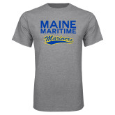 Grey T Shirt-Maine Maritime Mariners w/ Mariners Script
