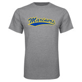 Grey T Shirt-Mariners Script Distressed