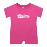 Bubble Gum Pink Infant Romper-Mariners Script