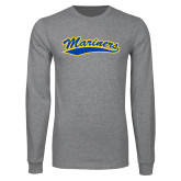 Grey Long Sleeve T Shirt-Mariners Script