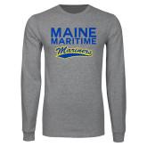 Grey Long Sleeve T Shirt-Maine Maritime Mariners w/ Mariners Script