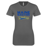Next Level Ladies SoftStyle Junior Fitted Charcoal Tee-Maine Maritime Mariners w/ Mariners Script