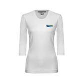 Ladies White 3/4 Sleeve Scoop Neck-Mariners Script