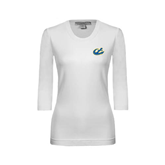 Ladies White 3/4 Sleeve Scoop Neck-Anchor