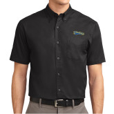 Black Twill Button Down Short Sleeve-Mariners Script