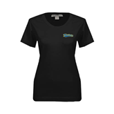 Ladies Black Stretch Scoop Neck-Mariners Script