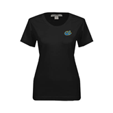 Ladies Black Stretch Scoop Neck-Anchor