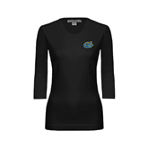 Ladies Black 3/4 Sleeve Scoop Neck-Anchor