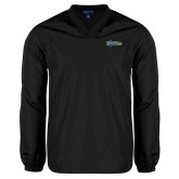 V Neck Black Raglan Windshirt-Mariners Script