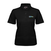 Ladies Black Dry Mesh Polo-Mariners Script
