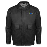 Black Leather Bomber Jacket-Mariners Script
