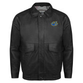 Black Leather Bomber Jacket-Anchor
