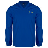 V Neck Royal Raglan Windshirt-Mariners Script