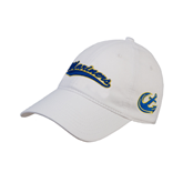 White Twill Unstructured Low Profile Hat-Mariners Script