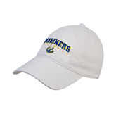White Twill Unstructured Low Profile Hat-Football