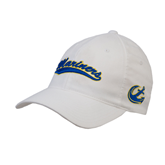 White OttoFlex Unstructured Low Profile Hat-Mariners Script