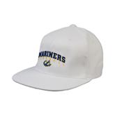 White OttoFlex Flat Bill Pro Style Hat-Football
